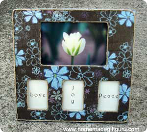 This simple decoupage frame can be made to match your no sew fleece pillow cover...