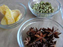 Crystallized ginger, whole cardamom pods and star anise for chai tea mix...