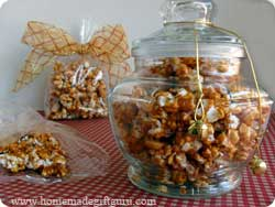 Caramel popcorn makes a great homemade popcorn gift in a jar or a cellophane bag...