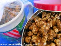Caramel popcorn in a jar, tin, bag, mug or other container...