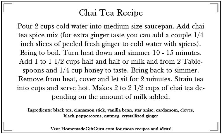 How to Make Chai Tea Recipe Gift Tag Instructions: