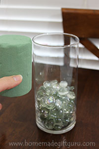 This is a common glass vase you can find in dollar stores and craft stores... it works great for making a DIY candy bouquet!