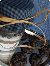Chocolate Cookie Recipe in a Jar beside chewy chocolate chip cookies...