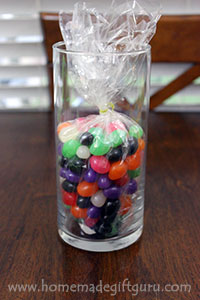 Make your Easter candy bouquet extra cute by filling the base with jelly beans!