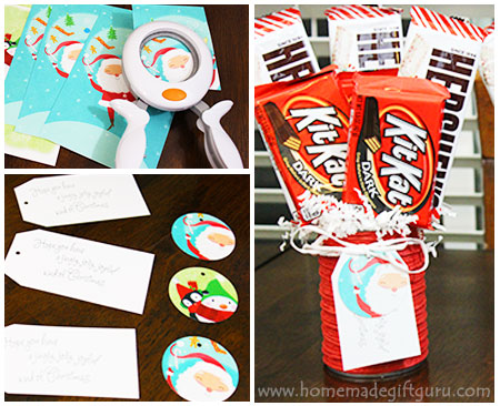 These candy bouquet instructions utilize repurposed tin cans and old Christmas cards for cute DIY frugal Christmas gifts...