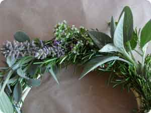 An herb wreath is just one of many herb and flower craft ideas that make nice gifts...