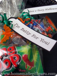 Halloween printables used to embellish Halloween goodie bags for of treats...