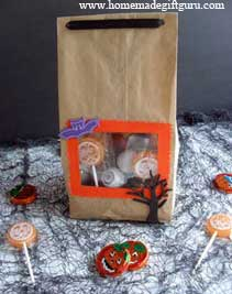 Or you can just make a window in your Halloween party bag and decorate it with spooky stickers and ghoulish treats...