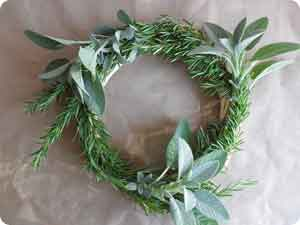 Sage and rosemary give this garden gift a fragrant and full base...