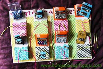 My daughter loved the beads for jewelry making gift theme I chose for her 8th birthday countdown gift! Free templates found on www.homemadegiftguru.com