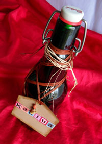 Homemade Kahlua Gift in Re-used Glass Bottle