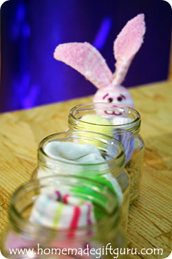 Learn how to make a sock craft homemade sock bunny kit gift in a jar!