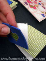 Remove backing from foam and stick to front center of Valentine card...
