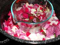Place the bowl on the brick to make rose water...
