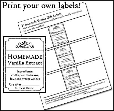 Learn how to make vanilla extract all in one step for easy homemade gift ideas and be sure to use these free printable gift tags and labels made exclusively for this project! www.homemadegiftguru.com