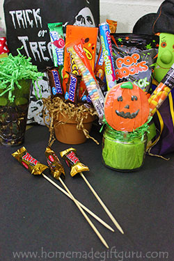 How to make candy bouquets using simple supplies.