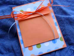 Sendables can be tucked away into this homemade pouch card and sent by mail...