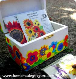 This napkin decoupage box starts with an unfinished wooden box (find them cheap at craft or dollar stores)...