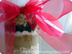 Cookie mix in a jar with homemade tags from these gift tag templates...