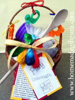 Make a gift basket containing play dough mix or prepared play dough and toys...