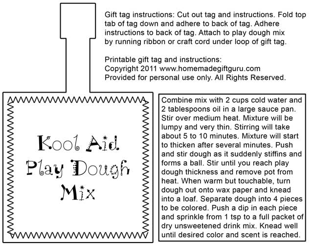 Kool Aid Play Dough Printable Printable Kool-aid Play