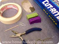 Supplies for making polymer clay Aries symbol art charm...