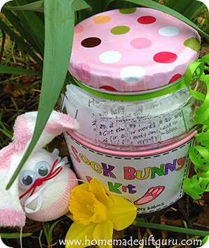 Learn how to make a sock crafts sock bunny kit for a creative homemade Easter gift idea...