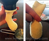 Start making your sock rabbit by filling the baby sock with 1/4 cup rice...