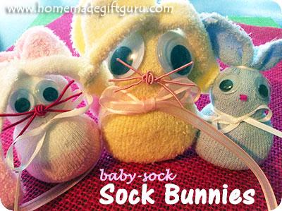 Sock rabbit sock bunny babies fit inside Easter eggs for cute Easter gift ideas...