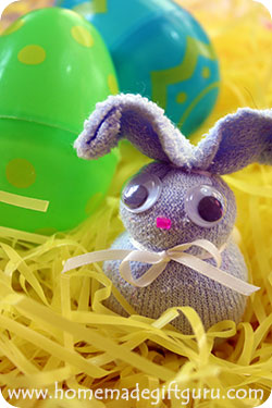 Baby-sock bunnies are cute and they fit inside the large sized Easter eggs for a fun twist!