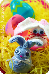 These little sock rabbits fit inside a large plastic Easter egg for a surprising Easter gift idea...