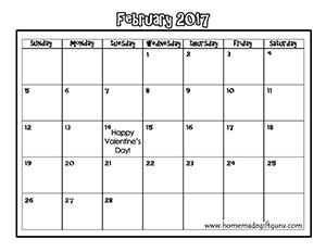 This free printable February calendar can be printed on cardstock, then decorated anyway you choose. Another freebie by www.homemadegiftguru.com