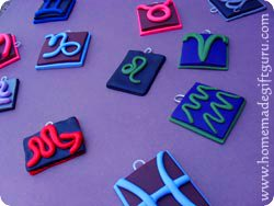 Using oven bake clay, these birthday symbol charms are surprisingly easy (tutorials below)...