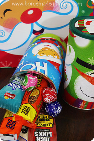 Create a cute homemade canister using a gift bag and a hot cocoa or coffee container!