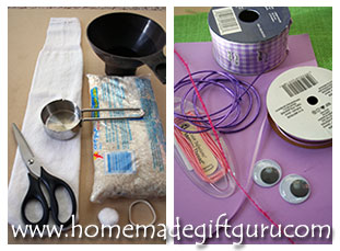 Here are the supplies for making this no-sew sock bunny...
