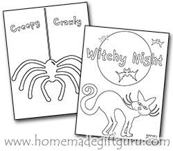 Spider and Black Cat Halloween Coloring Sheets by www.homemadegiftguru.com