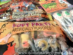 Here's a few of the things we found to stuff Halloween gift baskets with...