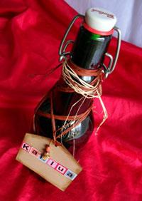 Homemade Kahlua Gift in Re-used Glass Bottle