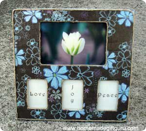 Simple decoupage frame gift with photo and custom word quotes...