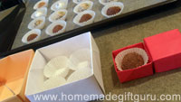 Different sized homemade gift boxes for homemade truffle gifts...