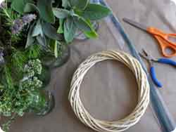 This herb wreath is full of sage, rosemary, lavender and oregano...