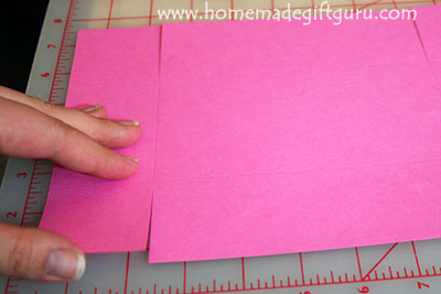 Make gift boxes: make 4 cuts from two edges in to the score line