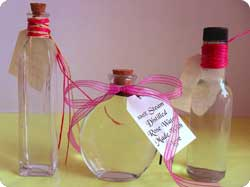 Place rose water in decorative bottles for great homemade gifts...