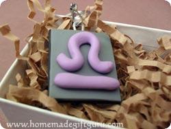 Libra symbol homemade key chain in a gift box...