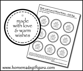 Click here to print out love and warm wishes printable gift tags...