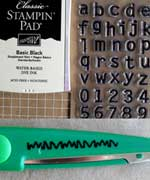 Alphabet stamps and decorative scissors are used to give this gemini card more character...