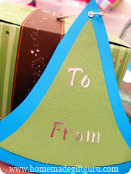 Here's a simple gift tag made with our free printable Christmas gift tag tree...