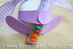 If you want, you can make floppy sock bunny feet and bunny arms to hold a treat...