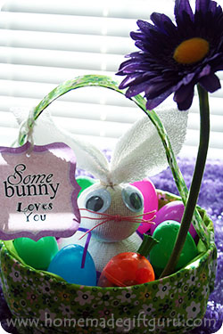 A flower is a cute addition to this no sew-sock bunny Easter gift idea...