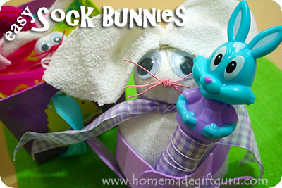 It's easy to make a no-sew sock bunny...